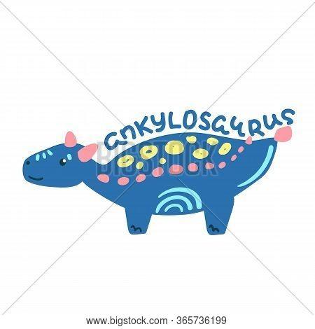 Cartoon Dinosaur Ankylosaurus. Cute Dino Character Isolated. Playful Dinosaur Vector Illustration On