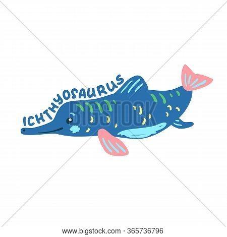 Cartoon Dinosaur Ichthyosaurus. Cute Dino Character Isolated. Playful Dinosaur Vector Illustration O