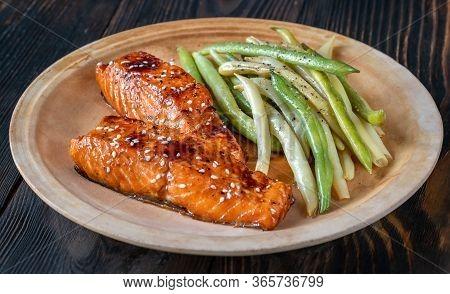 Teriyaki Salmon With Beans