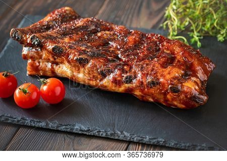 Barbecue Pork Spare Ribs Flat Lay Closeup
