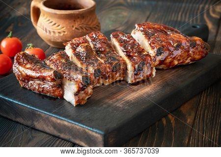 Barbecue Pork Spare Ribs Flat Lay Close-up