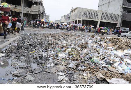 Dirty streets of Port-Au-Prince.