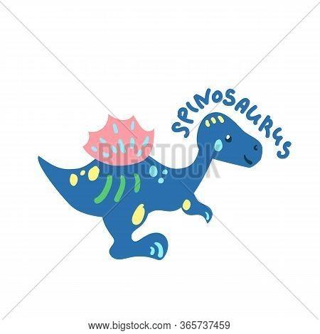 Cartoon Dinosaur Spinosaurus. Cute Dino Character Isolated. Playful Dinosaur Vector Illustration On