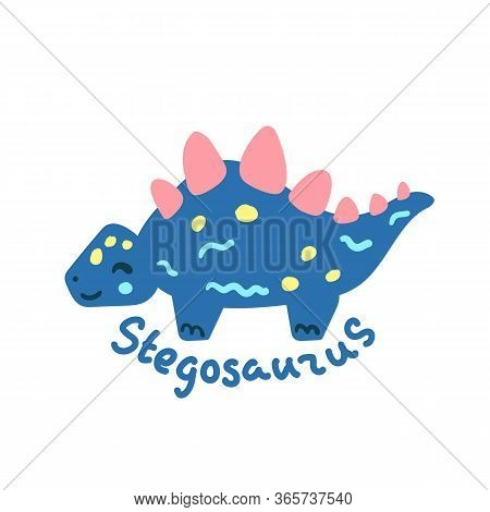 Cartoon Dinosaur Stegosaurus. Cute Dino Character Isolated. Playful Dinosaur Vector Illustration On