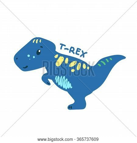 Cartoon Dinosaur Tyrannosaurus. Cute Dino Character Isolated. Playful Dinosaur Vector Illustration O
