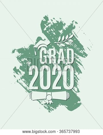 Grad 2020 Greeting Card With Hat, Laurel, Ink Brush Stroke On Mint Background For Invitation, Banner