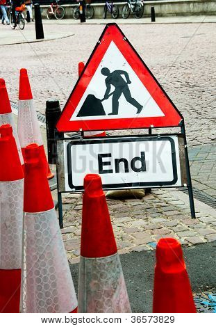 Street Sign For End Of Road Construction Work