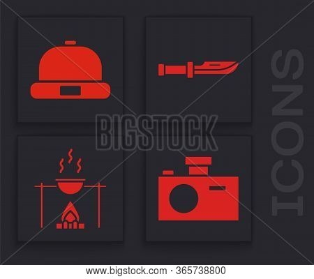 Set Photo Camera, Beanie Hat, Camping Knife And Campfire And Pot Icon