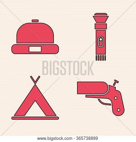 Set Flare Gun Pistol, Beanie Hat, Flashlight And Tourist Tent Icon