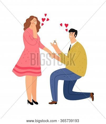 Guy Makes Proposal To Girl. Happy Woman And Man With Ring. Romantic Date Vector Illustration