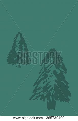 Winter Postcard With Fir Tree Silhouette. Firtree Stamp Or Watermark On Vertical Card. Earth Day Gre