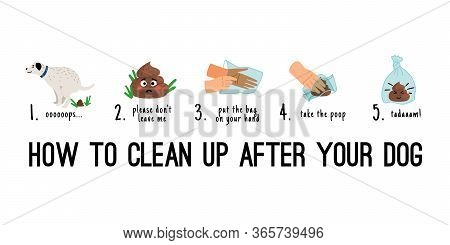 Dog Poo Clean Up. Dogs Poop Pick Up On Bag Steps Infographics, Pet Toilet Waste Litter Cleaning Cart