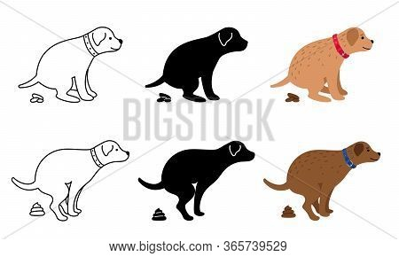 Pooping Dog Vector Illustration. Dogs Poop Clip Art, Pet Feces And Dog Vector Silhouettes Isolated O