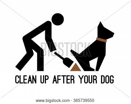 Clean Up After Your Dog Pictogram. Bags Excrement Cleaning Icon, Puppy Poop Picking Silhouette Sign,