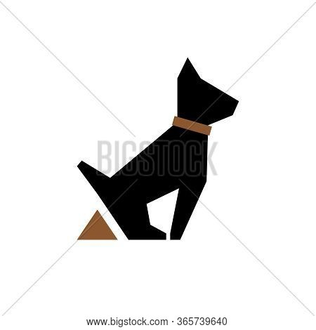 Dog Pooping Vector Icon. Dogs Poop And Stylized Puppy Silhouette For Vector Poo Clean Up Warning Sig