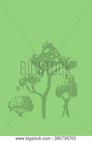 Blank Postcard With Ink Sketch Tree Silhouette. Blooming Tree Forest Stamp Or Watermark On Vertical