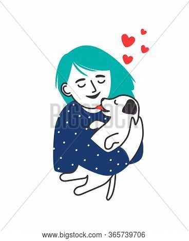 Girl Hugs Puppy. Hand Drawn Young Girl Or Stylized Woman Kissing Puppy Dog Isolated Vector Graphic,