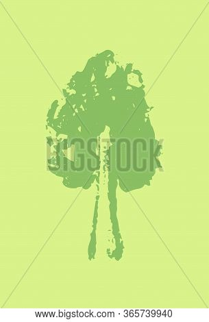 Blank Postcard With Handsketched Tree Silhouette. Blooming Tree Stamp Or Watermark On Vertical Card.