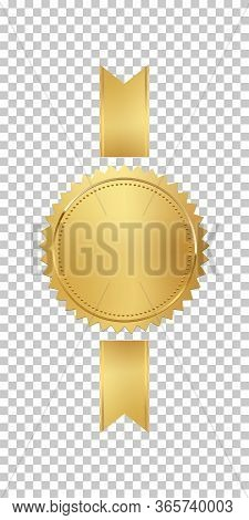 Golden Stamp With Vertical Ribbons Isolated On Transparent Background. Luxury Seal. Vector Design El