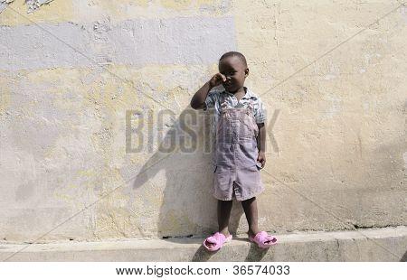 Crying Haitian Kid.