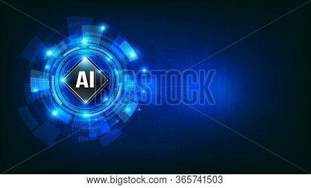 Futuristic Ai Artificial Intelligence And Technology Dark Blue Background, Circle Hud Head-up Displa