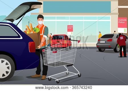 A Vector Illustration Of Grocery Worker Putting Groceries Inside A Car At Curbside Pickup