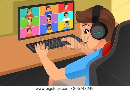 A Vector Illustration Of Teenagers Meeting Online With His Friends