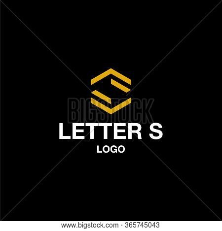 Bold And Masculine Logo Design Of Letter S And Hexagon Shape On Dark Background Colours - Eps10 - Ve