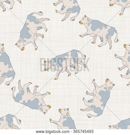 Seamless French Farmhouse Cow Pattern. Farmhouse Linen Shabby Chic Style. Hand Drawn Rustic Texture