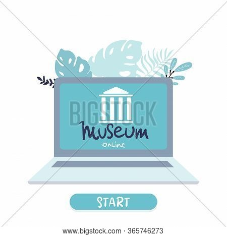 Interactive Museum Exhibition. Laptop . Virtual Museum And Art Gallery Tours In Laptop. Online Tours
