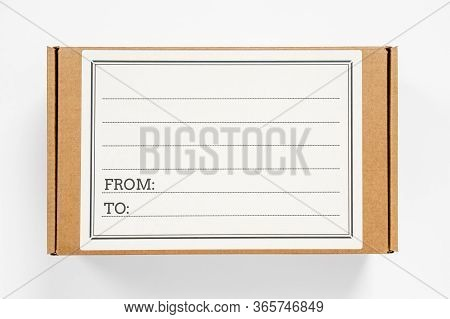 Recycling Mailing Kraft Cardboard Box For Parcels Or Packaging Gifts And Goods Including Address And
