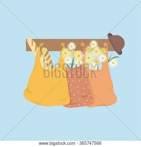 Shopping Bags With Flowers, Baguette And Hat. Cute Spring Vector Flat Illustration. Bouquest Of Dais