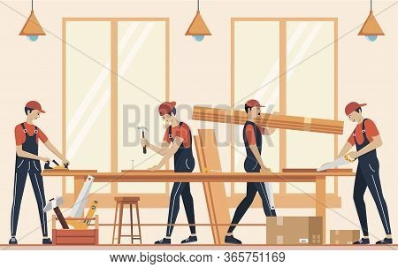 Furniture Assembly Concept Illustration. Manufacture Of Furniture. Workers Of Manufacture With Profe