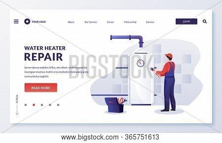 Plumber Worker Repairs Or Install Water Heater Boiler. Vector Illustration. Home Repair, Maintenance