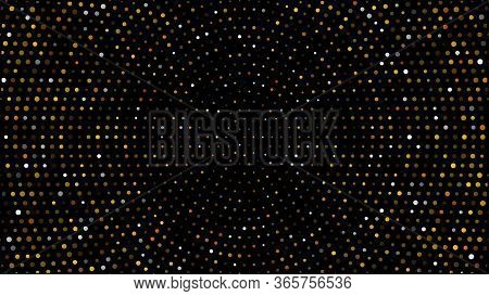 Gold And Silver Halftone Black Background. Vector Golden Glitter Circle With Dotted Sparkles Or Half