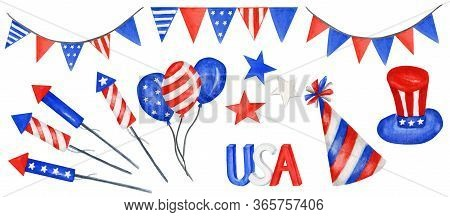 Happy 4th Of July Usa Independence Day Elements Set With American National Flag And Hand Lettering T