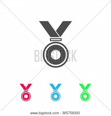 Medal Icon Flat. Color Pictogram On White Background. Vector Illustration Symbol And Bonus Icons