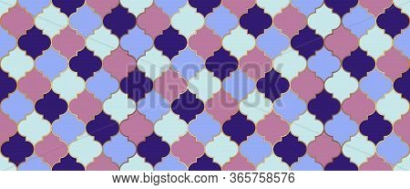 Seamless Moroccan Design Traditional Ramadan Golden Mosque Grid. Moroccan Seamless Mosaic Texture. E