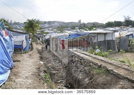Sewage system of the tent cities in Haiti.
