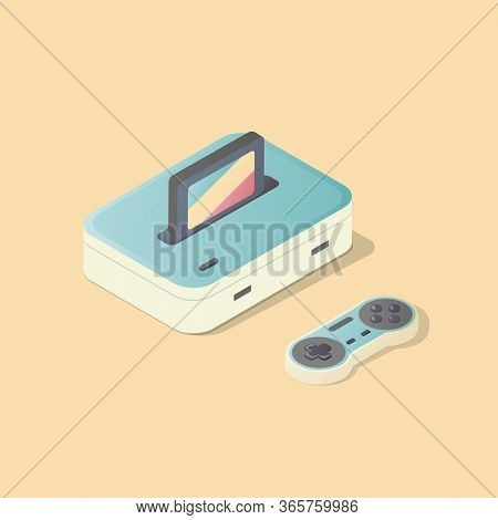 Isometric Classic Gamepad And Console. Joypad Colorful Illustration. Vintage Gaming