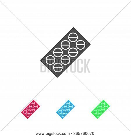 Pills Blister Pack Icon Flat. Color Pictogram On White Background. Vector Illustration Symbol And Bo