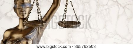 Bronze Themis Statue - Symbol Of Justice - With A Marble Background