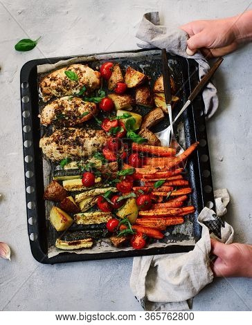 Sheet Pan Chicken And Veggies..style Rustic.selective Focus