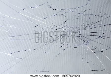 Close-up View Of Slanted Broken Lcd Screen With Visible Pixel Grid And Selective Focus