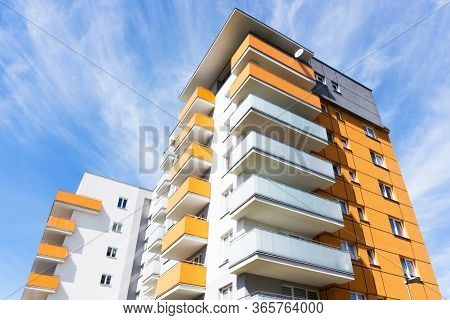Bialystok City In Poland Architecture Background. High Block Of Flats Living Area. New Build Neighbo