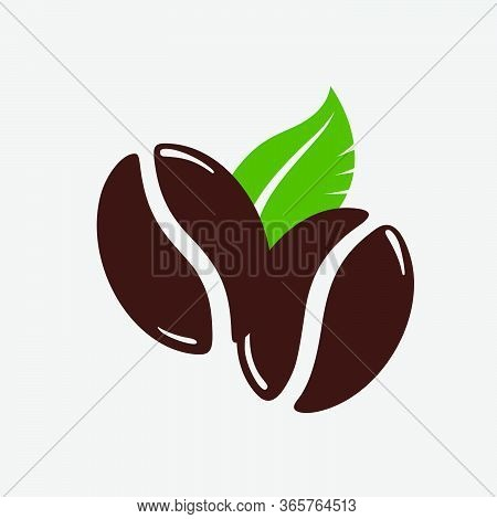 Two Roasted Coffee Beans With A Green Leaf, Caffeine Symbol. Hand Drawn Graphic Vector Illustration