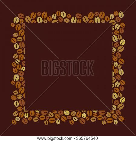 Brown Roasted Coffee Beans Blank Square Frame. Graphic Menu Template Vector Illustration.