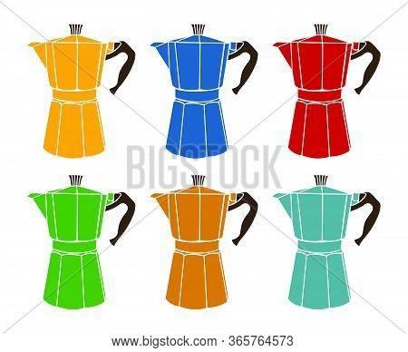 Italian Coffee Maker Or Moka Pot Set, Espresso Machine, Mocha Express. Colorful Hand Drawn Vector Il