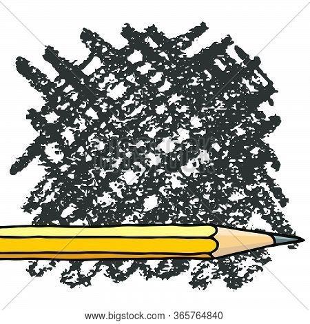 Graphite Pencil Hatch Strokes Hand Drawn Vector Doodle Illustration Blank Frame. Education Stationer