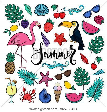 Big Set Of Hand Drawn Cute Cartoon Summer Symbols And Objects For Wrapping. Design For Holiday Greet